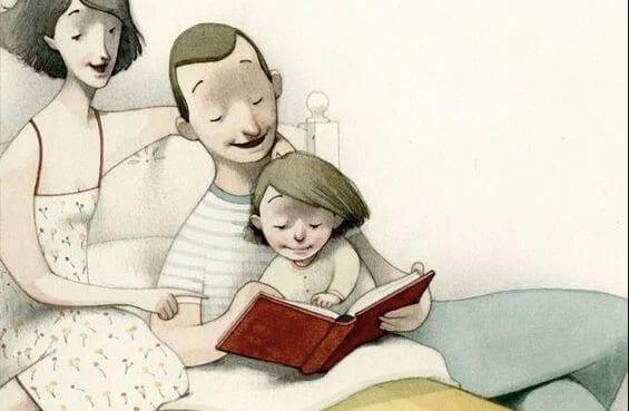 um adulto le para a crianca um conto ilustrado
