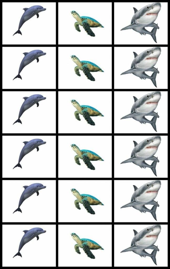 Atividade de recortar - animais marinhos