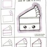 Desenhos kawaii para desenhar e colorir bolo
