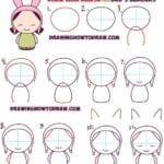 Desenhos kawaii para desenhar e colorir boneca