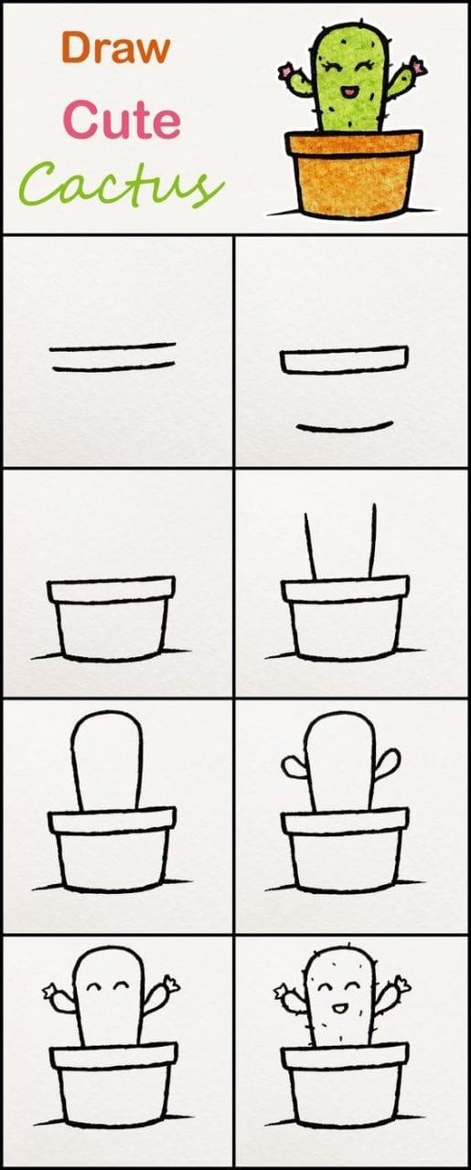 Desenhos Kawaii Para Desenhar E Colorir Cactus Criando Com