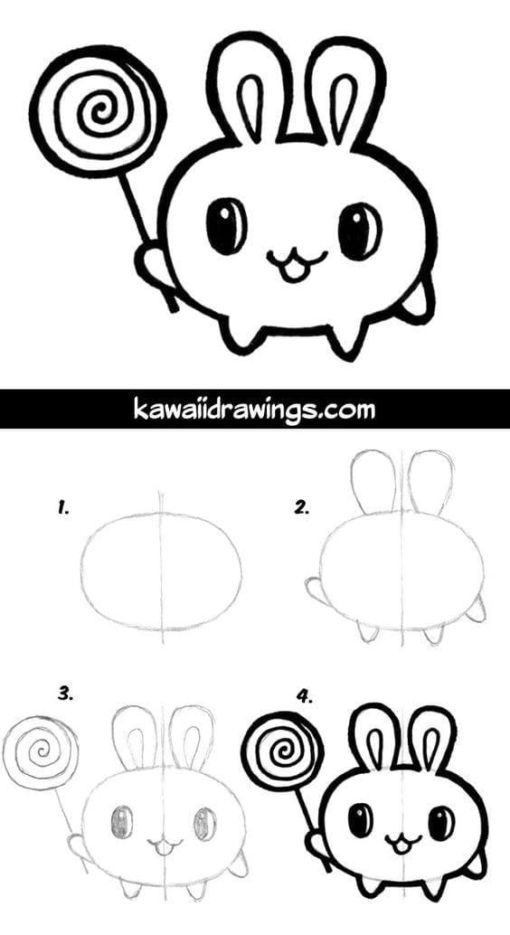 Desenhos Kawaii Para Desenhar E Colorir Coelho Com Pirulito
