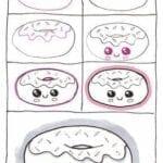 Desenhos kawaii para desenhar e colorir donut