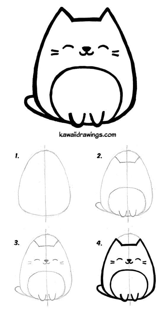 Desenhos Kawaii Para Desenhar E Colorir Gatinho Fofo Criando Com