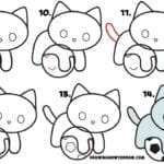 Desenhos kawaii para desenhar e colorir gato fofo