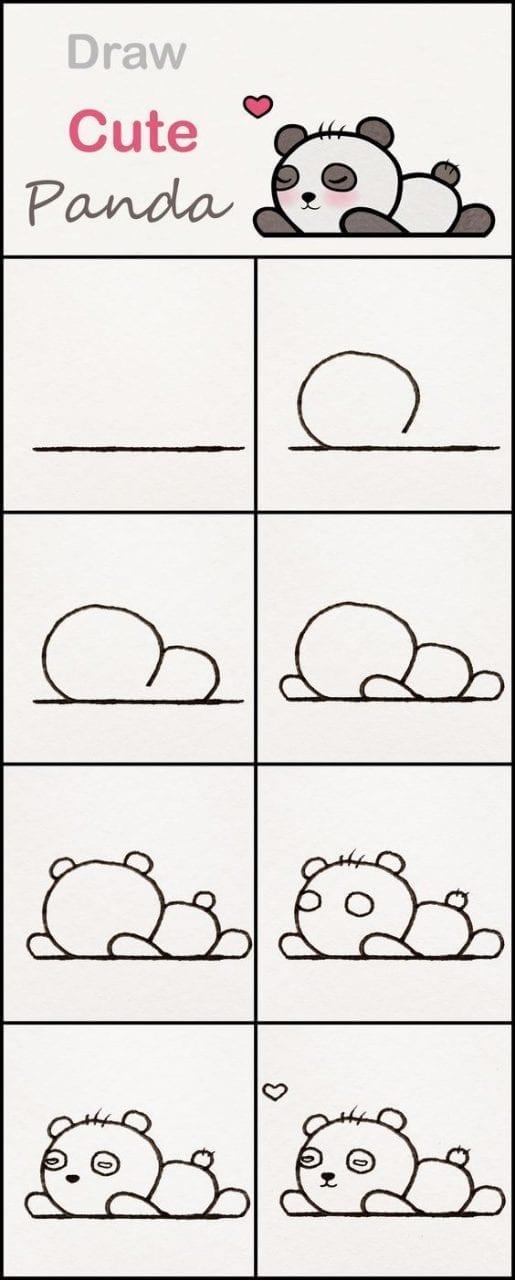 Desenhos Kawaii Para Desenhar E Colorir Panda Deitado