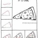 Desenhos kawaii para desenhar e colorir pizza