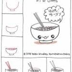 Desenhos kawaii para desenhar e colorir sopa japonesa