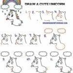 Desenhos kawaii para desenhar e colorir unicornio