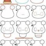 Desenhos kawaii para desenhar e colorir urso bonito