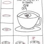 Desenhos kawaii para desenhar e colorir xicara coracao