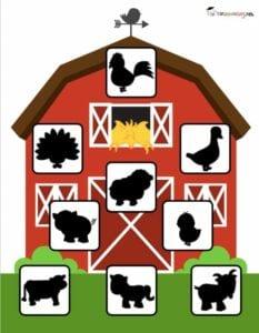 Sombras de animais da granja para criancas 1