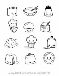 desenhos para colorir kawaii alimentos