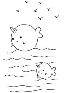 desenhos para colorir kawaii baleia unicornio
