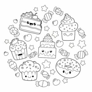 desenhos para colorir kawaii bolo e cupcake