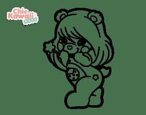 desenhos para colorir kawaii boneca