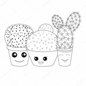 desenhos para colorir kawaii cactus