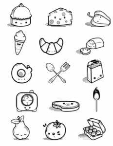desenhos para colorir kawaii comida 01