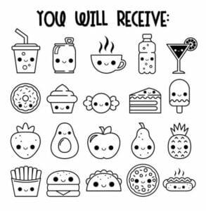 desenhos para colorir kawaii comida