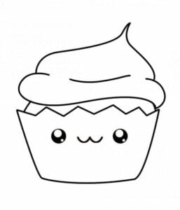 desenhos para colorir kawaii cupcake