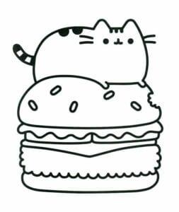 desenhos para colorir kawaii deitado no hamburguer