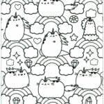 desenhos para colorir kawaii gato e arco iris