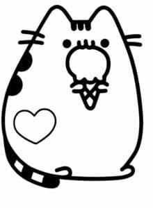 desenhos para colorir kawaii gato tomando sorvete