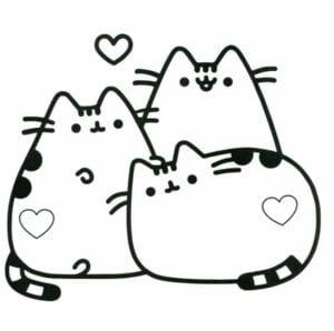 desenhos para colorir kawaii gatos juntos