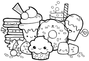 desenhos para colorir kawaii guloseimas