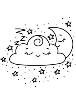 desenhos para colorir kawaii lua e nuvem