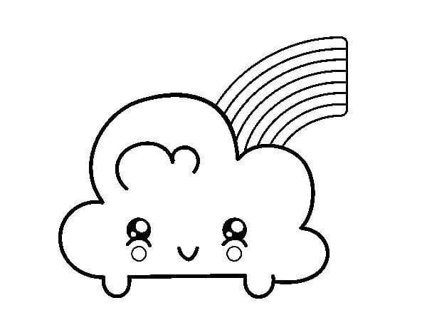 Desenhos Para Colorir Kawaii Nuvem E Arco Iris Criando Com Apego