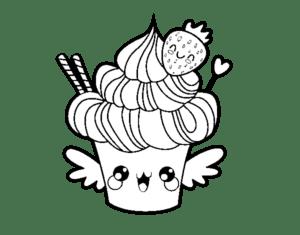 desenhos para colorir kawaii sorvete no copinho