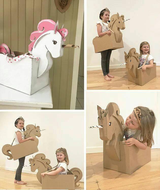 fantasias de papelao unicornio
