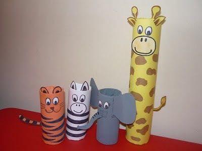 Animais feitos com rolos de papel higienico 01