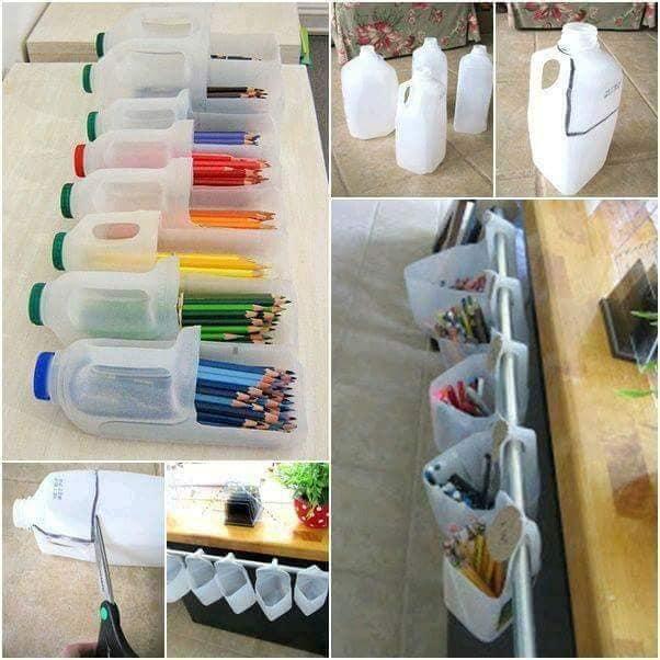 aproveitar garrafas de plastico para organizar a casa 17
