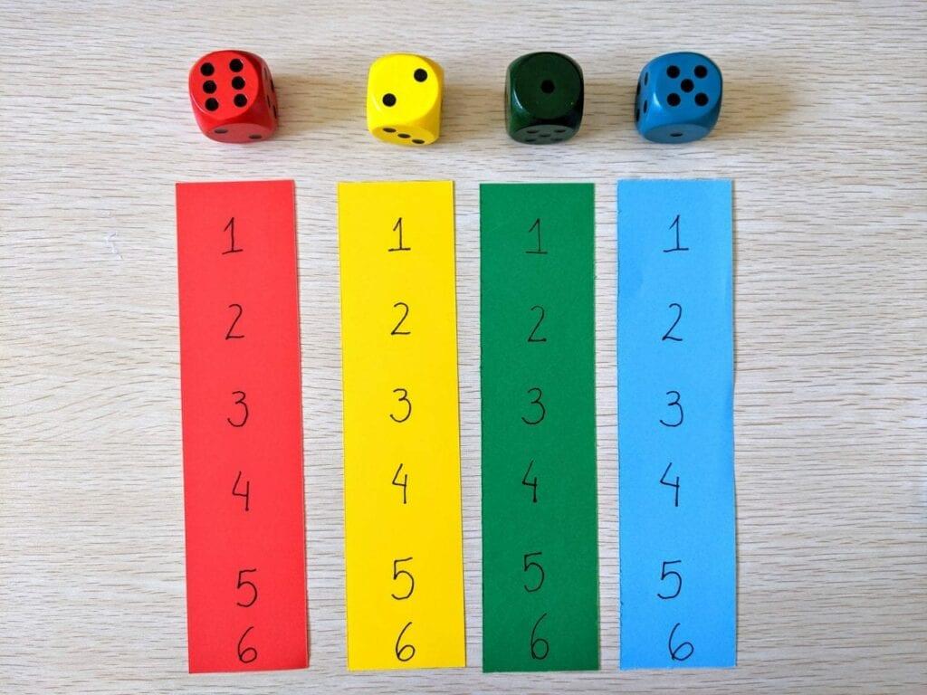 Jogo de dados com números de 1 a 6