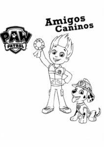 Patrulha Canina Ryde e Marshall para colorir