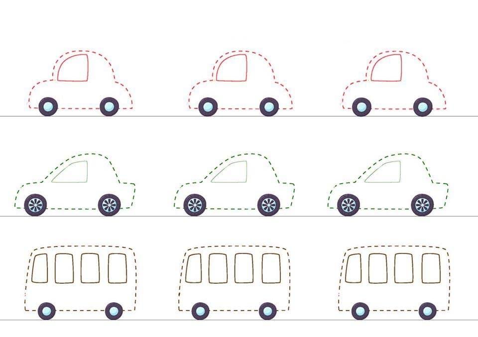 Atividade de grafomotricidade com carros