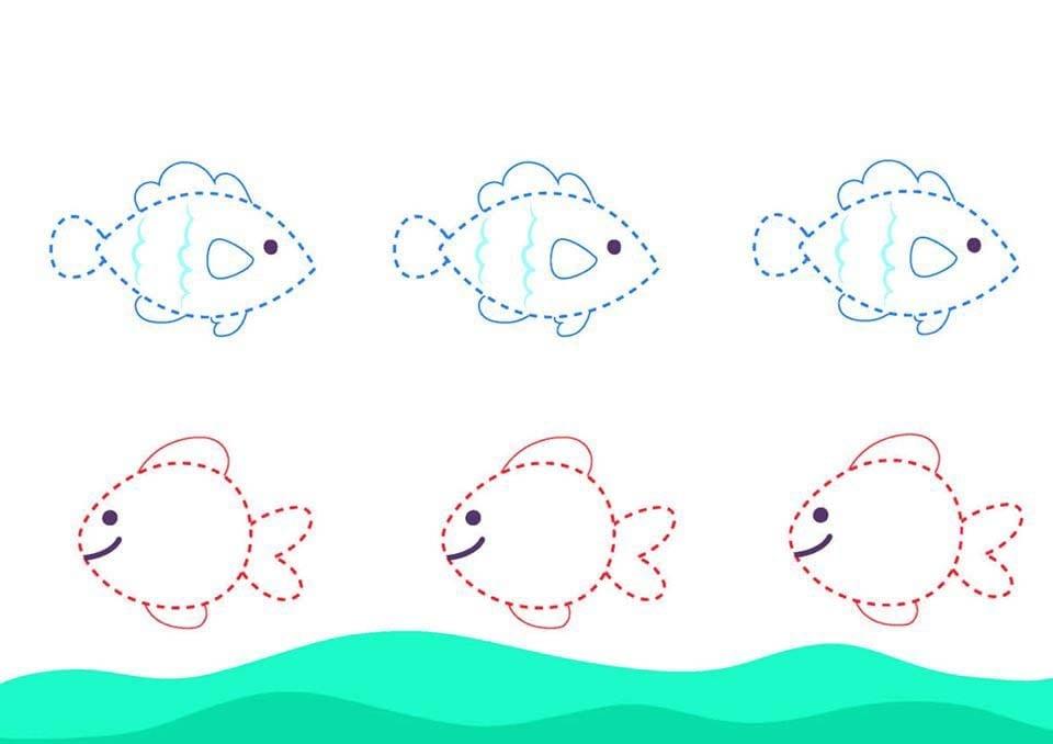 Atividade de grafomotricidade com peixe