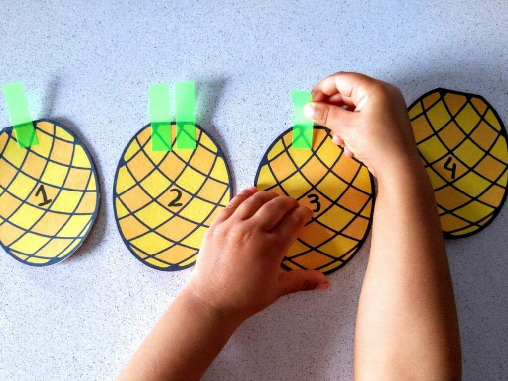 Contando de 1 a 5 com folhas de abacaxi 02