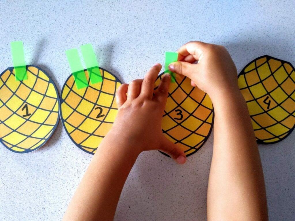 Contando de 1 a 5 com folhas de abacaxi 03