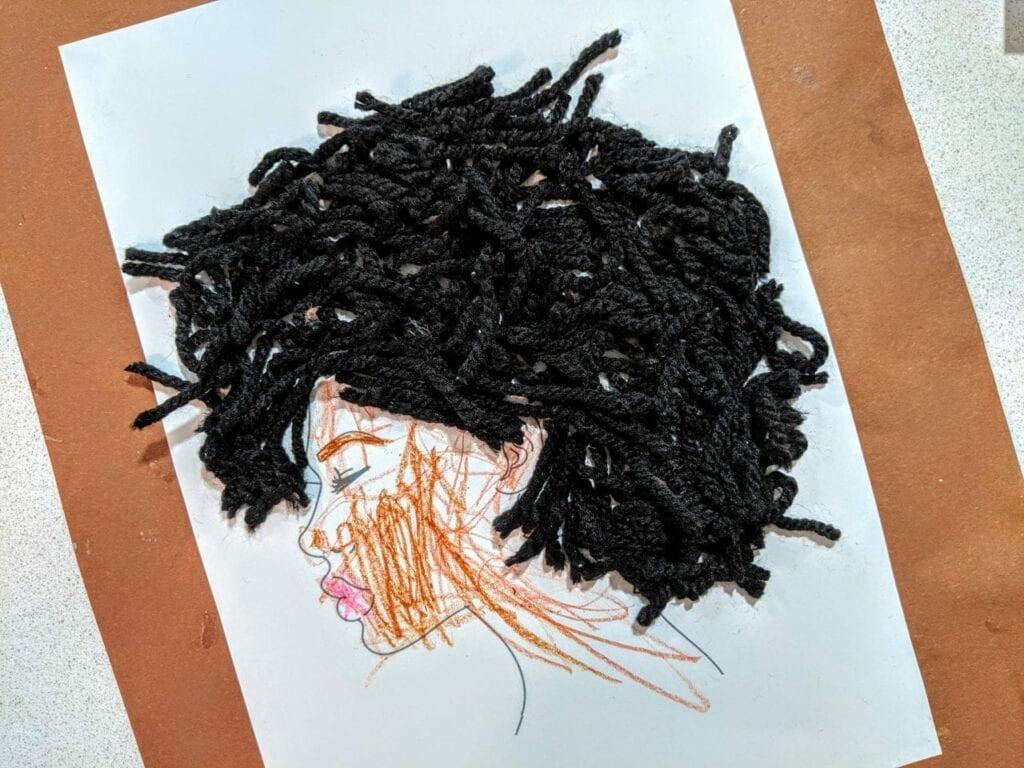 Atividade sobre o cabelo afro com lã