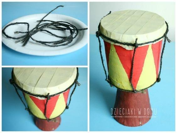 Instrumentos africanos com material reciclado