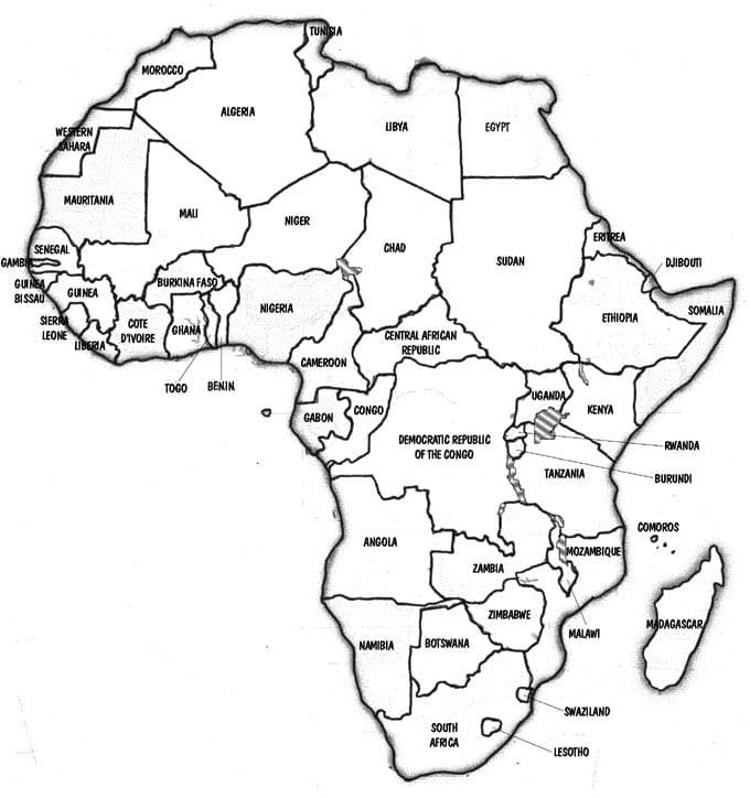 Mapa da África para pintar