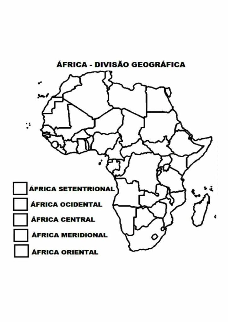 Mapa da divisão geográfica da África