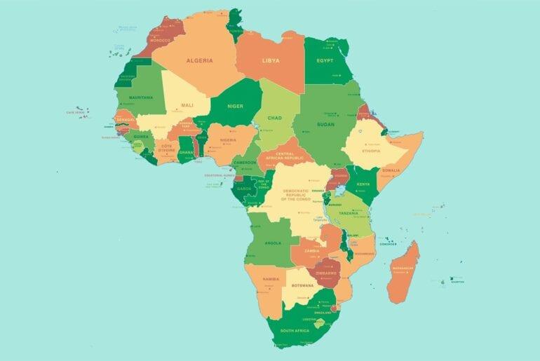 Mapas da África para colorir