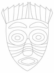 Moldes de Máscaras africanas para colorir