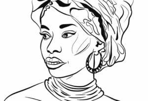 Mulher negra Dia da Consciência Negra colorir