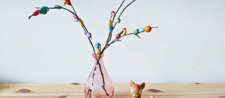 arranjo floral para mesa com micangas 01
