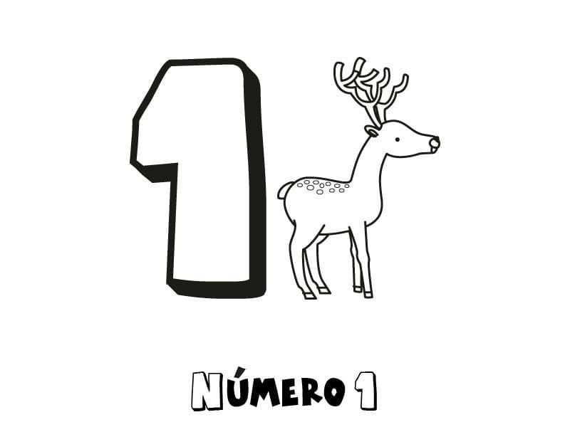 numero 1 para colorir e imprimir